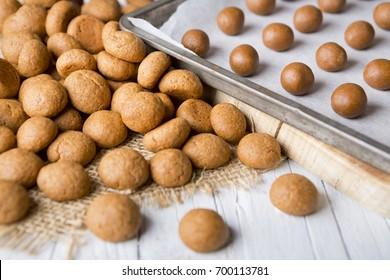 Homemade 'pepernoten' or 'kruidnoten', a Dutch delicacy for Dutch holiday 'Sinterklaas'.