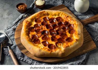 Homemade Pepperoni Stuffed Crust Pizza with Cheese