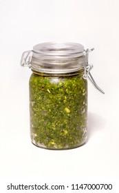 Homemade pesto jar