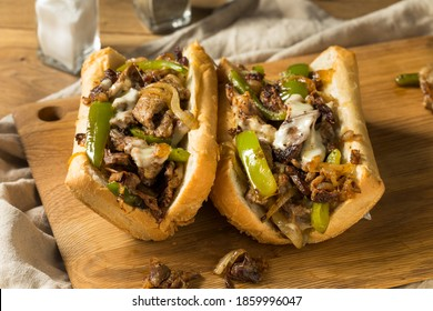 Homemade Philly Cheesesteak Sandwich with Peppers and Beef