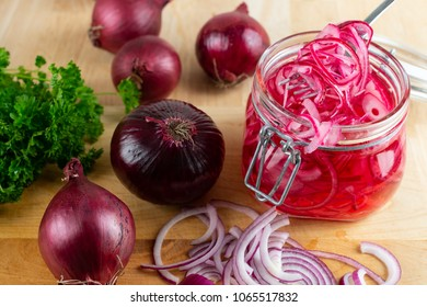Homemade pickled sliced red onion.