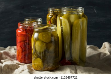 Homemade Pickled Vegetables in Jars Ready to Eat