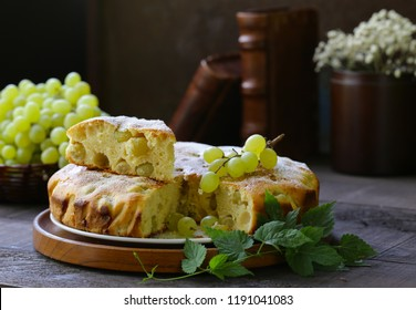 homemade pie cake  biscuit with white fresh grapes