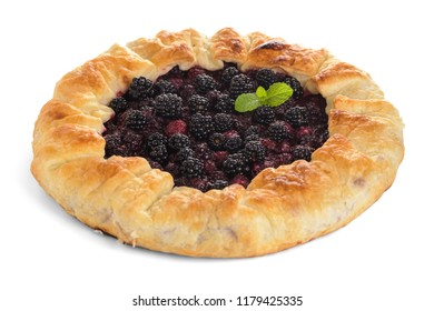 Homemade pie isolated on white.