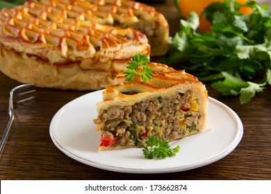 Homemade pie with meat.