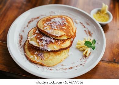 Homemade pineapple pancakes. Very tasty