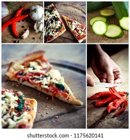 Homemade pizza photo collage