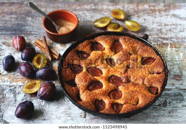 Homemade plum pie. Autumn plum pie. New York Times recipe plum cake.