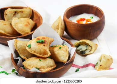 Homemade Potato cheese Pierogi  / Perogies close up