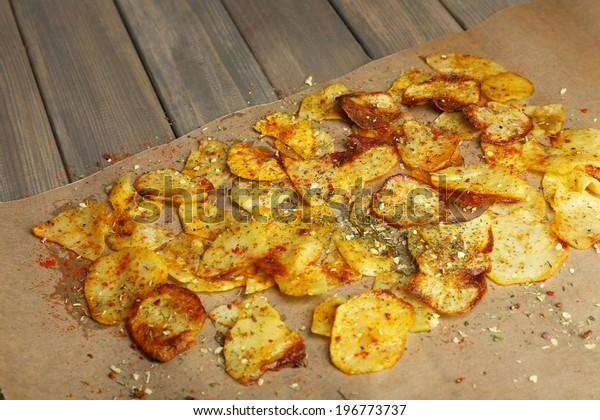 Homemade potato chips close up