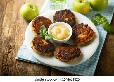 Homemade potato pancakes, or latkes with apple sauce