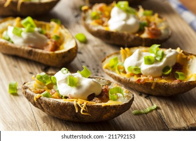 Homemade Potato Skins with Bacon Cheese and Sour Cream