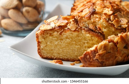 Homemade pound cake with almonds. Delicious dessert (pie) for gourmets. Selective focus