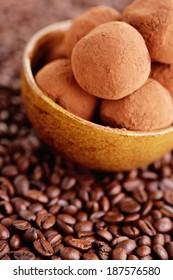homemade pralines with coffee - sweet food