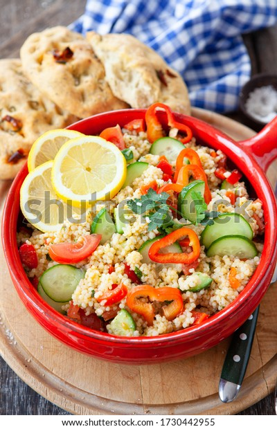 Homemade Ptitim / Israeli Couscous salad with fresh herbs