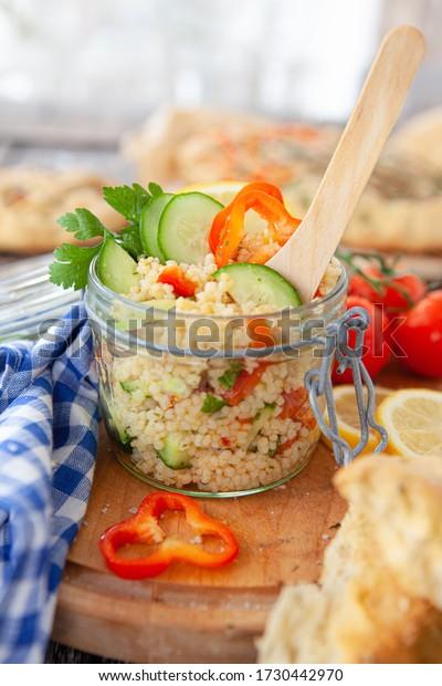 Homemade Ptitim / Israeli Couscous salad with fresh herbs