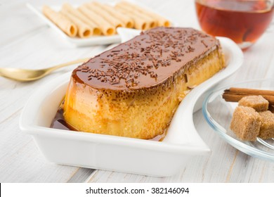 homemade pudding with caramel and chocolate chips