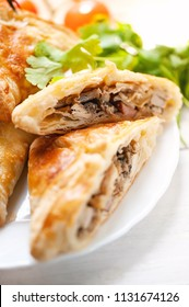 Homemade puff pastry with chicken and mushroom.