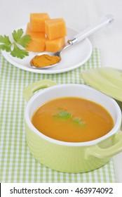 homemade pumpkin cream pot, light vegetarian food, soup traditional menu