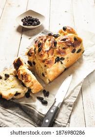 Homemade Raisin Babka Bread on White Background