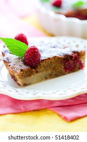 homemade raspberry cake with almond and pear