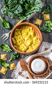 Home-made ravioli or tortelli with spinach and ricotta cheese