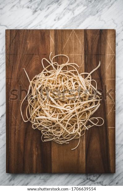 Homemade raw pasta, Italian food
