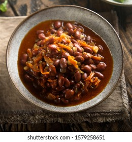 Homemade red bean chili in the bowl