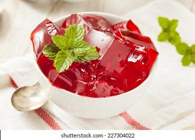 Homemade Red Cherry Gelatin Dessert in a Bowl
