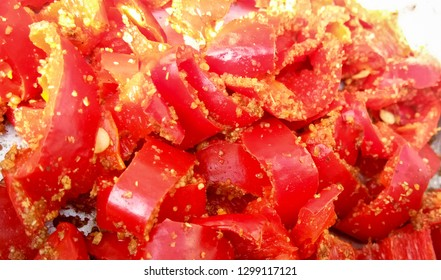 Homemade Red Chilli Pickle also known as Mirchi ka Achar