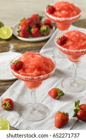 Homemade Red Frozen Strawberry Margarita in a Glass
