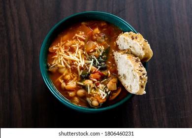 Homemade Ribollita, tuscan bean soup with light rye ciabatta