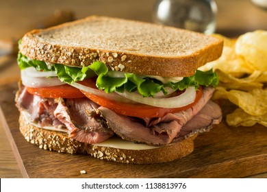Homemade Roast Beef Deli Sandwich with Lettuce and Tomato