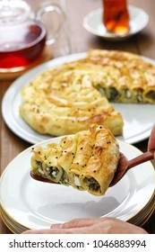 homemade rolled borek, spinach and feta cheese, turkish cuisine