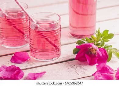 Homemade rose petal syrup, made with fresh organic roses.