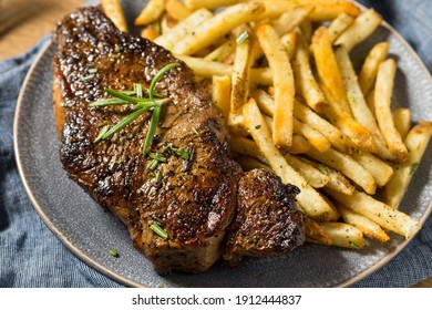 Homemade Rosemary Steak and French Fries with Salt