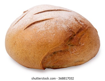 Home-made round bread isolated on a white background