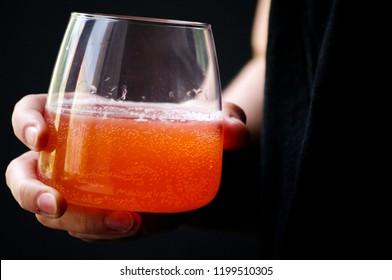 Homemade russian strawberry beverage - kvass (combucha)