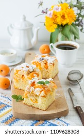 Homemade rustic apricot cake on a table