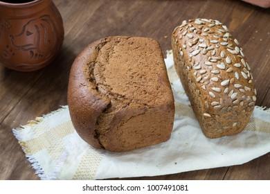 homemade rye bread on a linen napkin