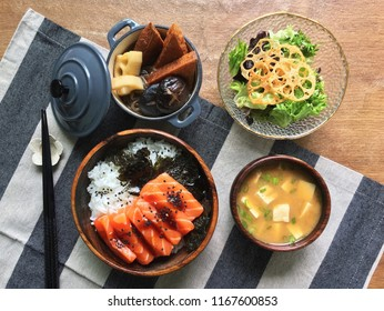 Homemade Salmon Don with Oden Lotus Root Salad and Miso Soup