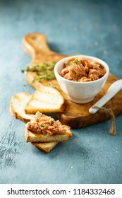 Homemade salmon pate with thyme