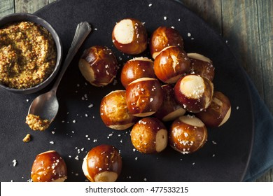 Homemade Salty Pretzels Bites with Mustard Dipping Sauce