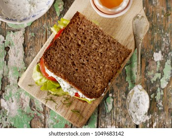 Homemade sandwich from above