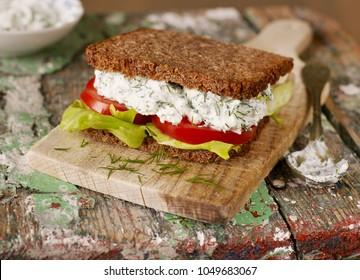 Homemade sandwich closeup