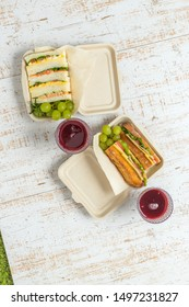 Homemade sandwich lunch set at a picnic