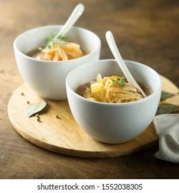 Homemade sauerkraut soup with dill