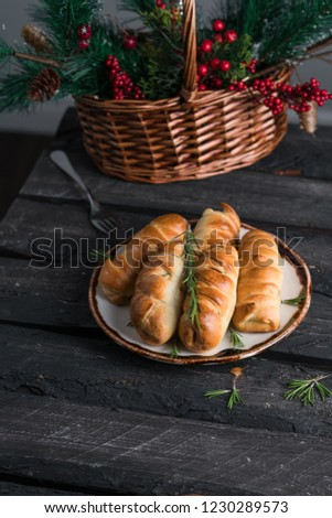 Homemade Sausage Rolls On Rustic Plate Stock Photo Edit Now