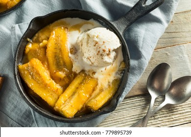 Homemade Sauteed Bananas Foster with Cinnamon and Ice Cream