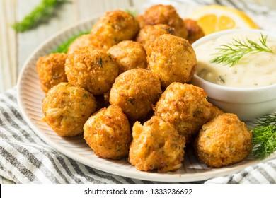 Homemade Seafood Mini Crab Cake Balls with Tartar Sauce